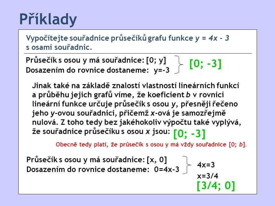 Příklady [0; -3] [0; -3] [3/4; 0]